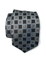 Ermenegildo Zegna Tie Gray Blue Geometric 100% Silk Made in Italy NWOT