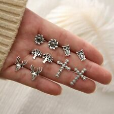 5Pairs Women Fashion Silver Earrings Owl Cross Tree Deer Ear Stud Boho Jewelry