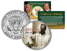 NELSON MANDELA 1918-2013 * MADIBA - FREE AT LAST * JFK Half Dollar US Coin w/COA