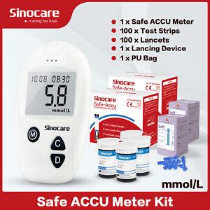 Sinocare Accu Blood Glucose Monitor Sugar Diabetic Glucometer Kit 100 Strips Hot