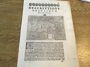 ANTIQUE MAP SCOTLAND DESCRITTIONE DELL ISOLA DI SCOTIA 1620 TOMASO PORCACCHI