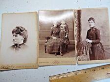 "3 Antique Photos of women + children Names on back + names of studios 6 1/2  4"""