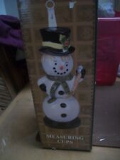 Christmas Holiday Hand painted Ceramic Snowman Measuring cup figurine