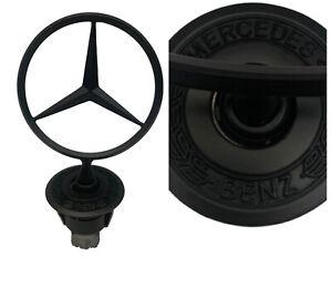 Mercedes Benz Matte Black Front Hood Ornament OEM Mounted Star Logo Emblem