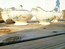 AMERICAN LIMOGES WHEATFIELD CREAM & LIDDED SUGAR BOWL