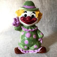 Clown Ceramic Figurine Decoration Polka Dot Smiling Peace Sign Circus Red Nose