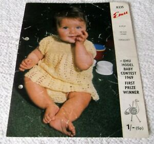 ORIGINAL VINTAGE EMU CROCHET PATTERN, No.8335  BABY DRESS & KNICKERS