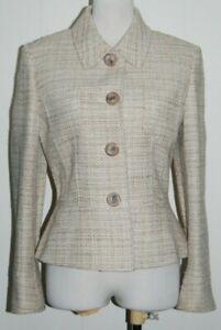 Tahari Petite Arthur Levine Wool Blend Collared Button Woven Jacket Blazer 10P