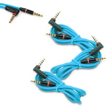 3X 4FT 3.5MM AUX AUXILIARY L-SHAPE AUDIO CABLE AQUA FOR NOKIA LUMIA 1020 Z10 Z30