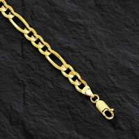 "14k Yellow Gold Lite Figaro Curb Link chain/Bracelet 8"" 6.5mm 3.8 grams"