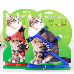 Adjustable Traction Belt Kitten Halter Collar Color Nylon Pet Cat Harness Leash