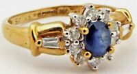 Ladies 9ct 9carat Yellow Gold Diamond & Sapphire Cluster Ring UK Size L 1/2