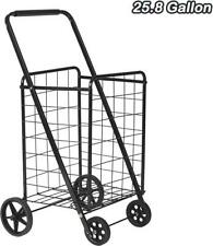Folding Grocery Shopping Cart with Durable Wheel Collapsible Large Metal Utility
