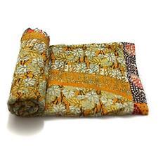 Vintage Kantha Quilt Indian Handmade Cotton Bedspread Embroidered Bedding Throw