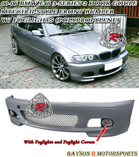 M-Tech II Style Front Bumper with Fog Fits 00-06 BMW E46 3-Series Coupe