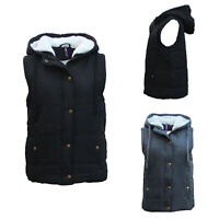 Women's Hooded Sherpa Fur Puffy Puffer Sleeveless Jacket Vest Waistcoat Quilted