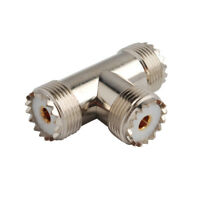UHF Female SO-239 to SO-239 to SO-239 Tee Type 3 Way Connector Adapter