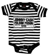 Johnny Cash Folsom Stripes - Official Babygrow Romper Suit (Ages 0-18 Months)