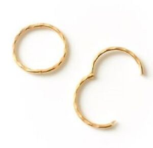 Gold Plated on Sterling Silver 925 Diamond Cut Hinged Sleeper Earrings 10-16mm