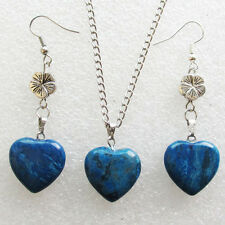 Blue Crazy Lace Agate Heart & Tibet Silver Flower Earring & Necklace Set S0947