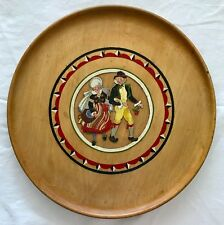 "Swedish Plate Hand Carved Wood & Painted Couple Folk Art Costumes 13.5"" Platter"