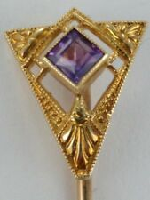 Gold with Amethyst Set in Triangular Filigree Art Deco Stick Hat Pin 14K Yellow