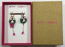 Betsey Johnson Cat Dangle Earrings Pink Neck Tie in box and tag