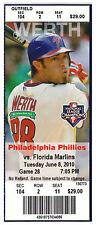 Giancarlo Mike Stanton MLB Rookie Debut 1st Game Hit Unused Ticket Stub 6/8/2010