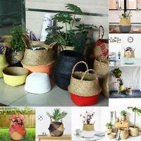 Seagrass Belly Basket Plant Pot Storage Holder Handles Organizer Planting Decor