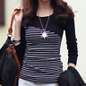 New Women Tops O-Neck T-Shirt Long Sleeve Blouse Striped T Shirts Tees