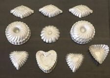 "10 Vintage Aluminum Baking Molds Mini Cake Tart Jello Cookie 3"" Fancy Molds"