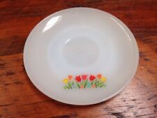 "Vintage Fire King Milk Glass Tulips Flowers Print Tea Saucer 6"" Dish Replacement"