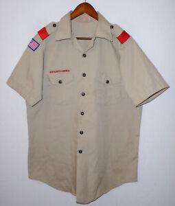 BOY SCOUTS Of America Insignia Uniform Shirt BSA Vtg USA Scout Adult Mens : LG