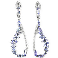 MARQUISE CUT AAA BLUE VIOLET TANZANITE & WHITE CZ .925 STERLING SILVER EARRINGS