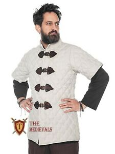 Medieval Thick Padded Half Sleeves Gambeson Coat Aketon Jacket Armor, Cotton Fab