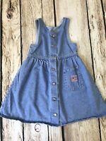 Vintage USA Lee Jeans Toddler 6x Denim Jumper Dress 100% Cotton Light Wash