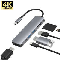 6 in 1 USB-C Hub For MacBook-Pro Type C Adapter Multiport SD Card Reader 4K HDMI