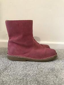 Boden Pink Boots Size 5 Suede Mid Calf Flat Leather Boots