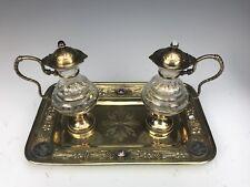 19th C. French Jeweled Hand Engraved Gilt Silver Cruet Set