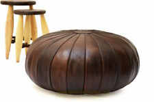 """Round Stunning Leather Moroccan Pouf Ottoman Brown Leather Ottoman Moroccan 32"""""""