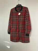 Sanctuary City Topper Zip Front Jacket Red Tartan Plaid Womens Large NWT
