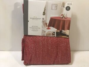 """Christmas Threshold Red Silver Twinkle Tablecloth 70"""" Round"""