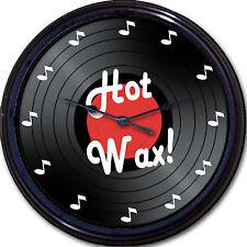 "Vinyl Record Hot Wax Wall Clock Image of 33 Record Music Notes New 10"""