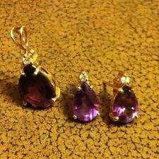 14K AMETHYST & DIAMOND ACCENT EARRINGS And ANTQ 18C  AMETHYST DIAMOND PENDENT