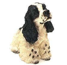 Springer Spaniel Black Dog Mini Figurine Statue HandPainted Resin Living Stone