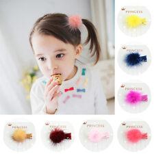 Baby S Kids Korean Fur Ball Pompom Hair Clip Pin Hairpins Headwear 12 Pcs