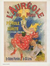 "1980 Vintage ""L'AUREOLE"" EARLY OIL LAMP AD CHERET MINI POSTER Art Lithograph"