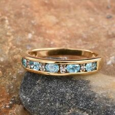 AA Natural Ratanakiri Blue Zircon & Topaz Eternity 14K Y Gold/925 Ring Size N