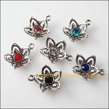 6 New Charms Glass Crystal Mixed Flower Tibetan Silver Pendants 14x17mm