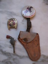 Rare Buck Jones Club Pinback & Pin with Leather holster and toy Revolver